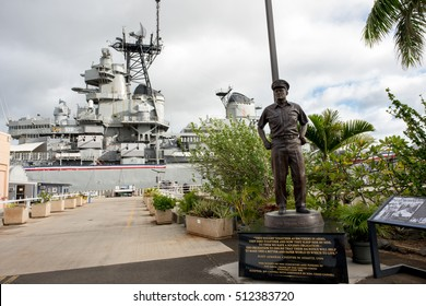 Pearl Harbor, HI: September 27, 2016: U.S.S. Missouri in Pearl Harbor. The USS Missouri is where Japan signed the instrument of surrender with the United States.
