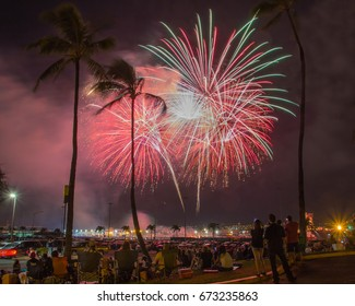 Pearl Harbor, Honolulu, Oahu, USA, 4. July, 2017: Military personnel and their guests celebrate July 4th with spectacular fireworks at Joint Base Pearl Harbor-Hickam.