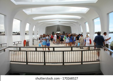PEARL HARBOR, OAHU, HAWAII - SEPTEMBER 20: People visit USS Arizona Memorial on September 20, 2012 in Pearl Harbor, USA. Memorial marks resting place of sailors and Marines killed by Japanese