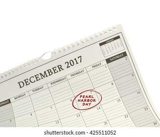 Pearl Harbor Remembrance Day 7 December 2017 Calendar isolated on white background