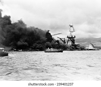 Pearl Harbor, Wreckage of USS Arizona December 7, 1941