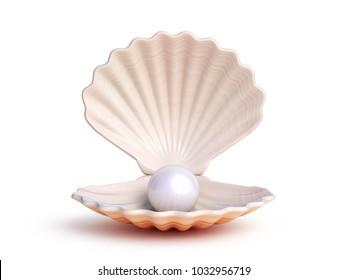 Pearl inside seashell 3d rendering