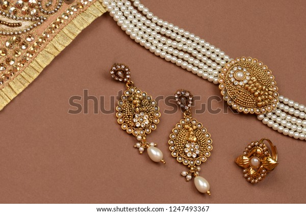 Pearl Jewelry On Brown Backgroundgolden Scarfpearl Stock Photo Edit Now 1247493367