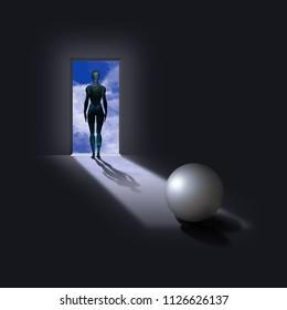 Pearl like sphere with cyborg woman figure in doorway. 3D rendering