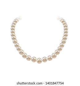 pearl necklace isolated over white