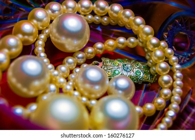 pearl necklace on lead glass