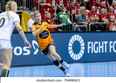 Pearl van der Wissel from Nederland at handball game between Nederland and Czech Republic final score: 30 - 26  at IHF World Championship - Germany 2017 - Quarter Finals, Magdeburg - 13.12.2017