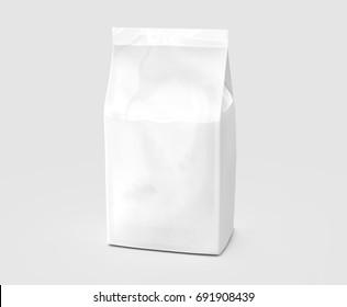 Pearl white coffee bean bag mockup, blank foil bag template in 3d rendering