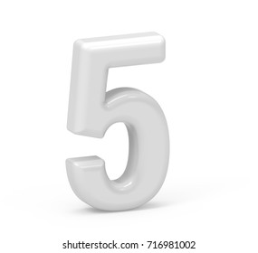 pearl white number 5, 3D rendering inflated number isolated on white background