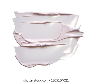 Pearly pink smear of cream or acrylic paint, on a white background