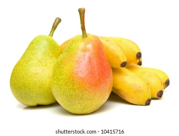 pears and bananas on white. Isolation