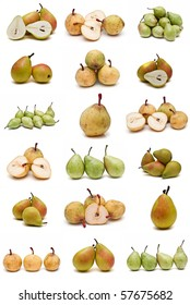 Pears collection isolated on a white background.