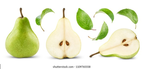pears collection with leaf isolated
