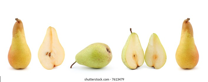 Lot of pears isolated on white
