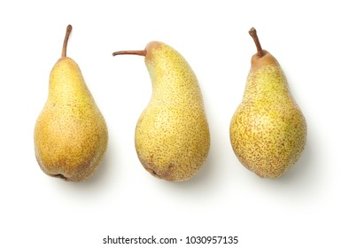 Pears isolated on white background. Abate fetel pear. Top view