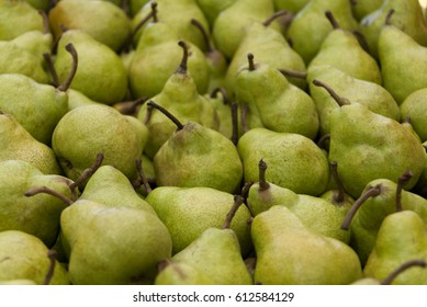 Pears on Market Stall in Australia. Full-frame lush fruit.