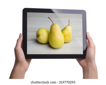 pears on screen tablet