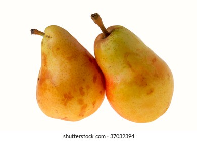 Pears ripe natural on a white