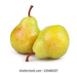 pears two on white background