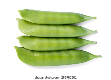 Peas in a pod on a white background