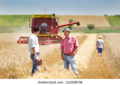 Peasant and business man walking on wheat field during harvesting