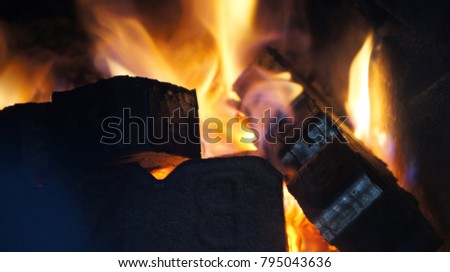 Peat Briquettes in a fireplace