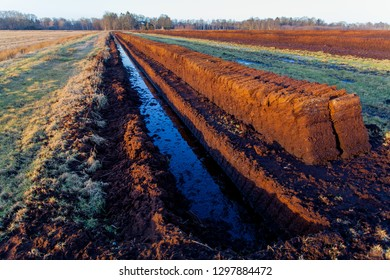 Peat extraction in the moor near Barghorn, Wesermarsch district (Germany) in winter