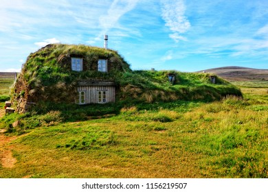 Peat house in Iceland.