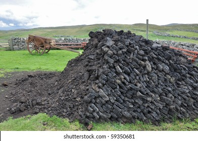 Peat pile with cart