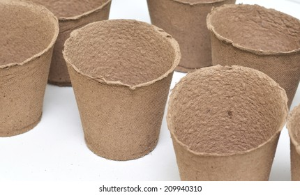 Peat pots for growing seedlings isolated on white background