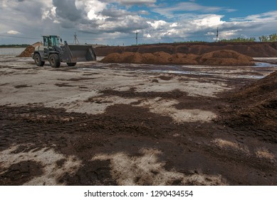 peat processing plant, warehouse of raw materials and finished products