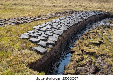 Peat (turf) cut and left to dry on a wetland in the Scottish Highlands