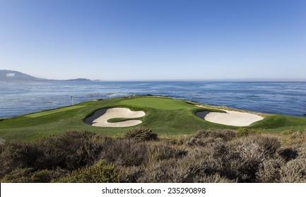 PEBBLE BEACH, CALIFORNIAâ??SEPTEMBER 23, 2014 : The public golf course of Pebble Beach, near Monterey, California, USA, september 23, 2014, in  Monterey, California, USA