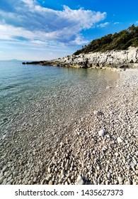 pebble beach of adriatic sea