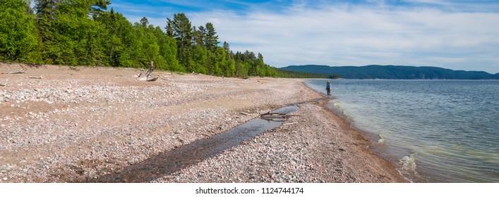 Pebble beach at Agawa Provincial Park at Lake Superior in Ontario