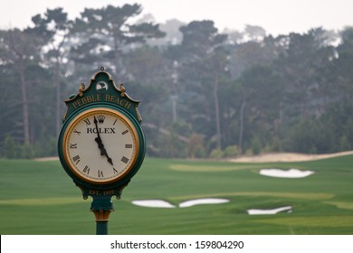 PEBBLE BEACH, CA - OCTOBER 19: Famous Rolex clock located on the Pebble Beach golf course October, 19 2013 in Pebble Beach, California. The golf course will once again host the 2019 U.S. Open.