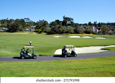 PEBBLE BEACH, CALIFORNIA APRIL 10, 2015 : The public golf course of Pebble Beach, near Monterey, California, USA, april 10, 2015, in Monterey, California, USA