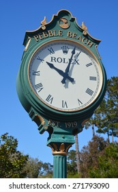 PEBBLE BEACH, CALIFORNIA APRIL 10, 2015 : Rolex clock in the public golf course of Pebble Beach april 10, 2015, in Monterey, California, USA Widely as one of the most beautiful courses in the world,