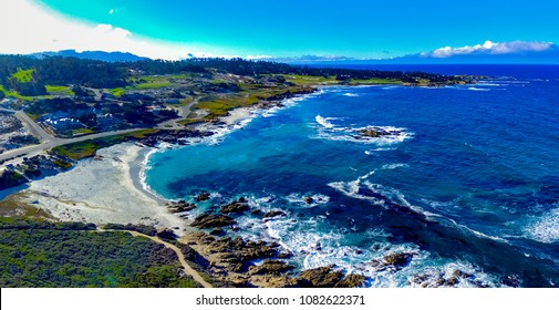 Pebble Beach, California, February 17, 2018: Majestic aerial views at Pebble Beach higlighting Bird Rock, Seal Rock, Fan Shell Beach, Cypress Point Golf Course and the Monterey Penninsula Country Club