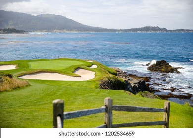 Pebble Beach, California - May 26, 2016: Views of Pebble Beach Golf Course and shoreline on a sunny day