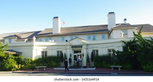 Pebble Beach California - November 4, 2013. The Lodge clubhouse at the Pebble Beach golf course.