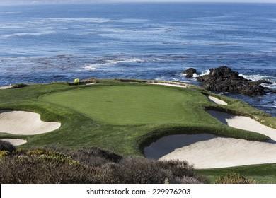 PEBBLE BEACH, CALIFORNIA  SEPTEMBER 23, 2014 : The public golf course of Pebble Beach, near Monterey, California, USA,   september 23, 2014,  in  Monterey, California, USA