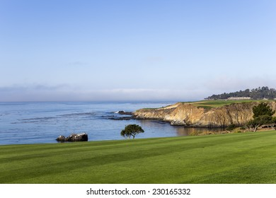 PEBBLE BEACH, CALIFORNIA - SEPTEMBER 23, 2014 : The public golf course of Pebble Beach, near Monterey, California, USA,   september 23, 2014,  in  Monterey, California, USA