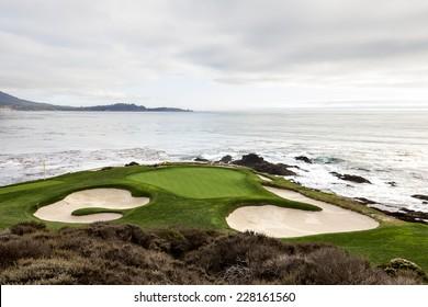 PEBBLE BEACH, CALIFORNIA - SEPTEMBER 25, 2014 : The public golf course of Pebble Beach, near Monterey, California, USA,   september 25, 2014,  in  Monterey, California, USA