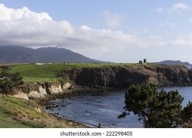 PEBBLE BEACH, CALIFORNIA - SEPTEMBER 27, 2014 : The public golf course of Pebble Beach, near Monterey, California, USA,   september 27, 2014,  in  Monterey, California, USA