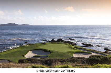 PEBBLE BEACH, CALIFORNIA SEPTEMBER 27, 2014 : hole 7 at The public golf course of Pebble Beach, near Monterey, California, USA,   september 27, 2014,  in  Monterey, California, USA