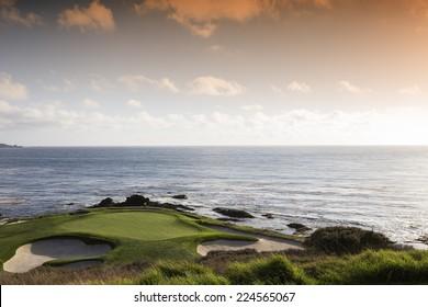 PEBBLE BEACH, CALIFORNIA SEPTEMBER 27, 2014 : The public golf course of Pebble Beach, near Monterey, California, USA,   september 27, 2014,  in  Monterey, California, USA