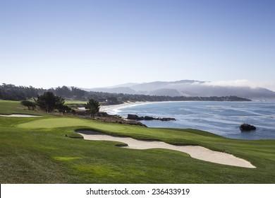 PEBBLE BEACH, CALIFORNIA-SEPTEMBER 23, 2014 : The public golf course of Pebble Beach, near Monterey, California, USA, september 23, 2014, in  Monterey, California, USA