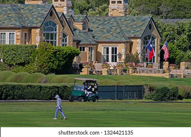 PEBBLE BEACH, CALIFORNIA/USA - JULY 7, 2018:  A foursome of golfers waiting to take their approach shots to the 18th green at Pebble Beach Golf Links. The AT&T Pebble Beach Pro-Am is also played here.