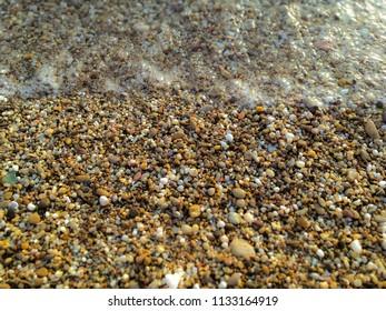 Pebble beach on the coast